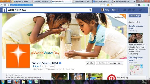 World Vision's Facebook page. There are a lot of one-star reviews going up right now...