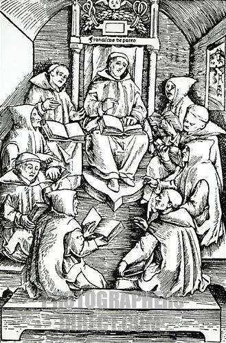It can't be proven, but I'm pretty sure this is an illustration of Bernard debating the word choice of hymns with his fellow monks.