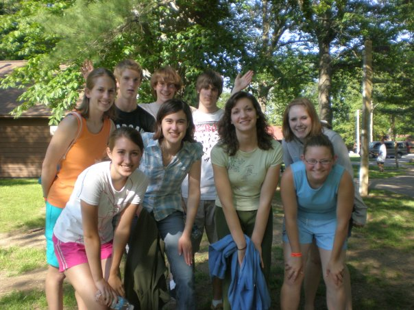 With the youth group at camp.