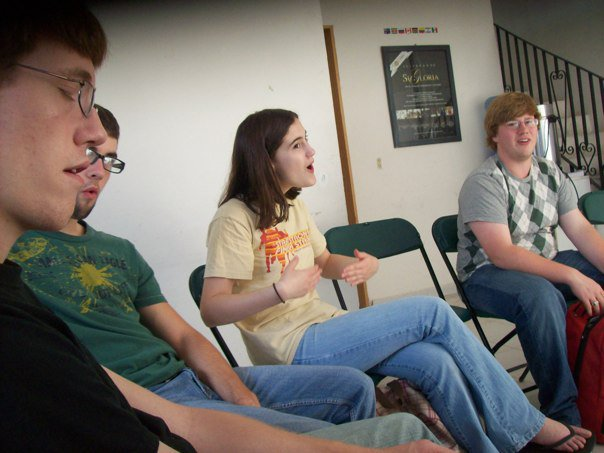 A shot from the mission trip, where we did the serious ministry work of...playing a game of Mafia.