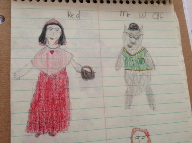 In fifth grade, I wrote and illustrated a story about fairy tale characters...in a retirement home.